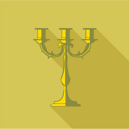 Digital vector candlestick with shadow over dark yellow background, flat style Illustration