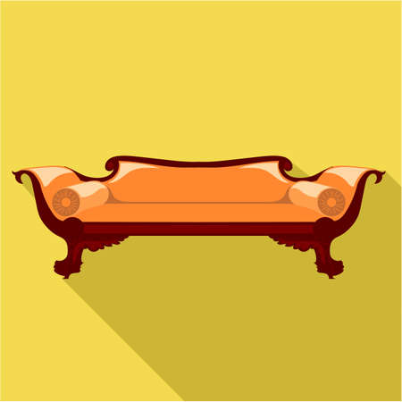 Digital vector orange sofa with round pillows over yellow background isolated, flat style