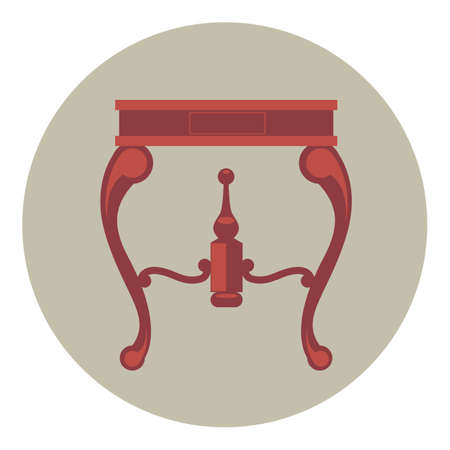 pieces of furniture: Digital vector red vintage table isolated, flat style Illustration