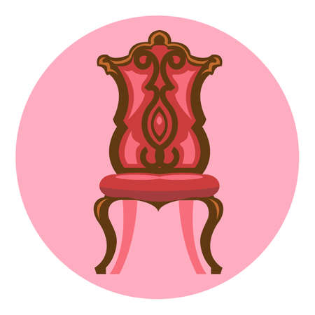 Digital vector long red and brown vintage chair over pink background isolated, flat style Stock Photo