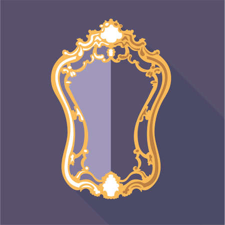 Digital vector golden and purple vintage mirror isolated, flat style