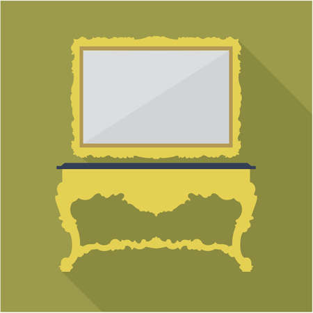 burgundy: Digital vector green vintage table and mirror isolated, flat style Illustration