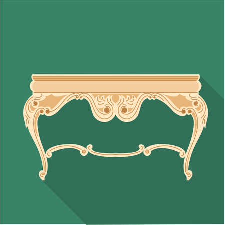 vanity table: Digital vector golden vintage table isolated on red background, flat style Stock Photo