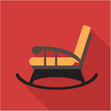 recliner: Digital vector orange and black vintage rocking chair over red background isolated, flat style