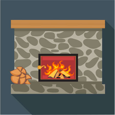 gas fireplace: Digital vector fireplace room with burning wood, flat style