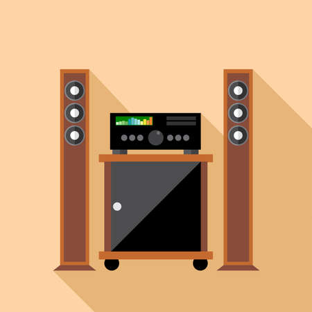 hifi: Digital vector hi-fi audio system with monitors and furniture, flat style