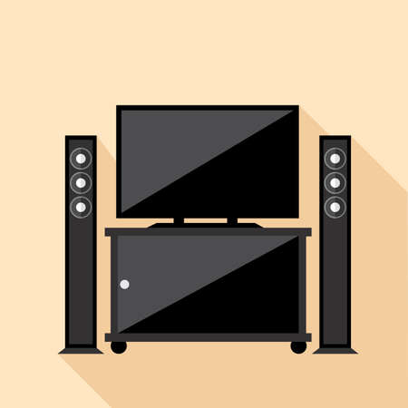 hi fi system: Digital vector hi-fi audio system with monitors and tv set with furniture, flat style