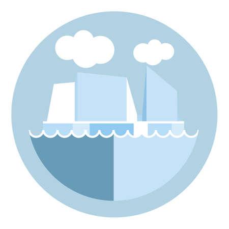 Digitale vector ijsberg en gletsjer pictogram, wolken en de oceaan water, opwarming van de aarde, vlakke stijl
