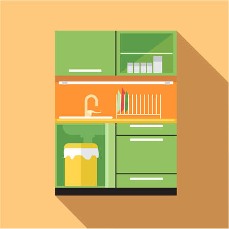 cross bar: Digital vector picture green and orange kitchen set, flat style