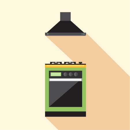 hob: Digital vector picture green and orange kitchen hob set with ventilation, flat style Stock Photo