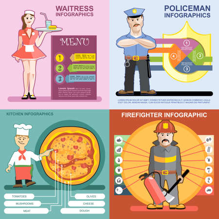 prison house: Digital vector infographics icon set, waitress, kitchen and pizza, police and firefighter, flat style Stock Photo