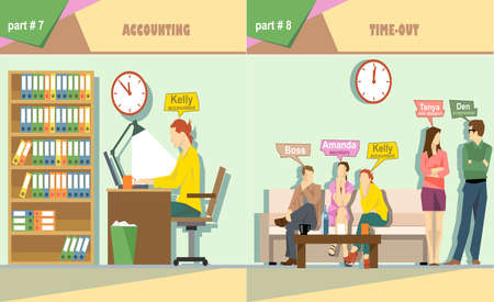 time out: Digital vector company accounting and time out icon set, boss, secretary, web designer, accountant and programmer, flat style