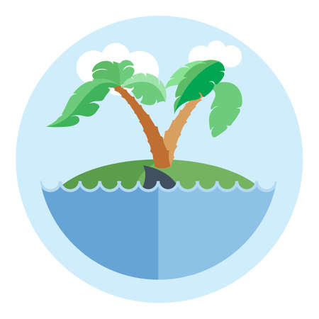 castaway: Digital vector island with water, palm tree and shark, flat style