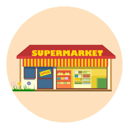 Digital vector super market building icon with open storefront and product shelves, flat style Illustration