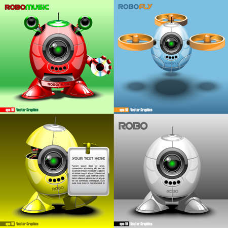 robo: Digital vector robo set, music, fly, red, blue, yellow and silver eye borg, 3d style