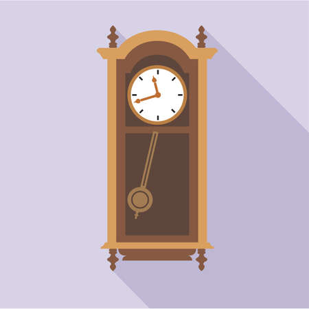 antiquities: Digital vector old clock in wooden furniture, over purple background, flat style