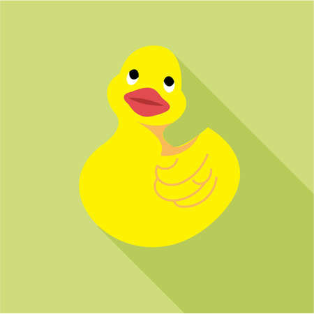 Digital vector duck toy, over green background, flat style