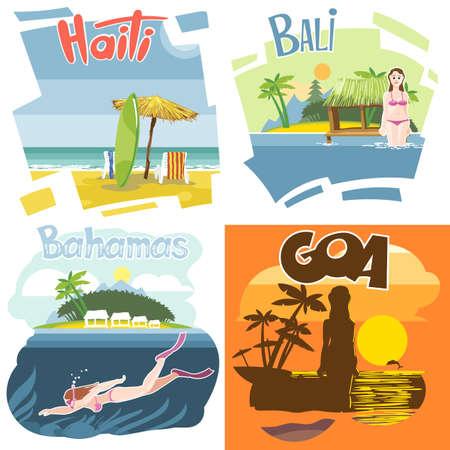 swimm: Digital vector touristic vacation destination set, Haiti, Bahamas, Bali and Goa, girl surfing and diving, sunset, flat style.