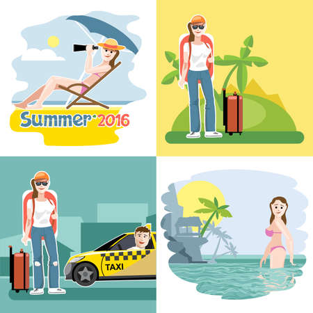 swimm: Digital vector touristic summer vacation destination set, girl at the beach, taxi, flat style.