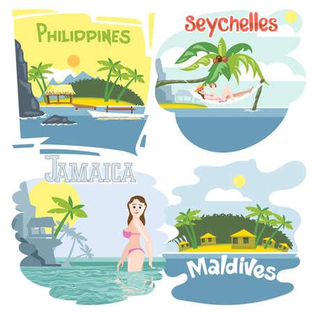 swimm: Digital vector touristic vacation destination set, philippines, seychelles, jamaica and maldives, girl swimming, sunset, flat style.