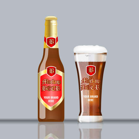 unopened: Digital vector glass of brown beer with foam and bubble mockup, red and golden bottle, realistic flat style, isolated and ready for your design