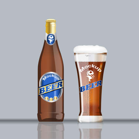 Digital vector glass and bottle of brown beer with bubbles mockup, realistic flat style, isolated and ready for your design Illustration