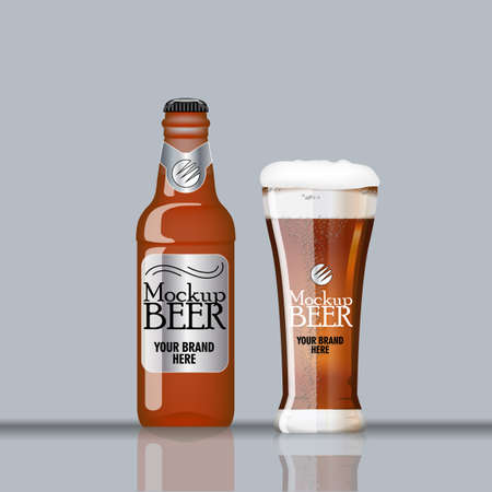 Digital vector glass and bottle of dark brown beer with bubbles mockup, realistic flat style, isolated and ready for your design Stock Photo