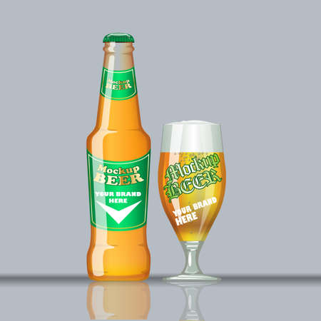 unopened: Digital vector glass of beer mockup, green and orange bottle, realistic flat style, isolated and ready for your design