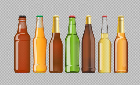 unopened: Digital vector beer mockup set, red, orange, brown, green bottle, realistic flat style, isolated and ready for your design Illustration