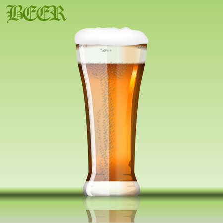 Digital vector glass of brown beer with bubbles and foam mockup, realistic flat style, isolated and ready for your design