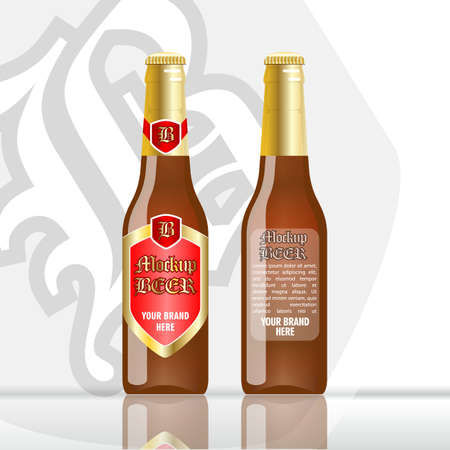 unopened: Digital vector brown beer mockup, red and golden bottle, realistic flat style, isolated and ready for your design