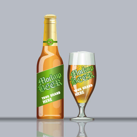Digital vector glass of beer with foam and bubble mockup, green and brown bottle, realistic flat style, isolated and ready for your design Stock Photo