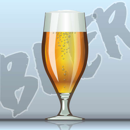 unopened: Digital vector glass of brown beer with bubbles mockup, realistic flat style, isolated and ready for your design
