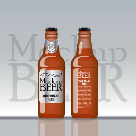 unopened: Digital vector brown beer mockup, silver and black bottle, realistic flat style, isolated and ready for your design