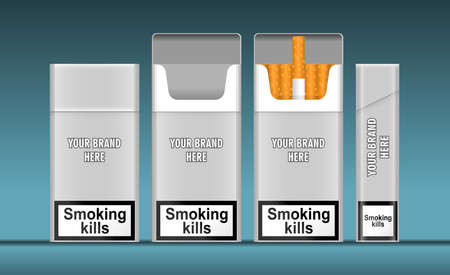 Digital vector silver cigarette pack mockup, front and lateral view, smoking kills, realistic flat style, isolated and ready for your design
