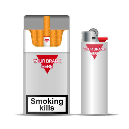Digital vector silver cigarette pack mockup and lighter, front and lateral view, smoking kills, realistic flat style, isolated and ready for your design Stock Photo
