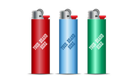 gas lighter: Digital vector cigarette lighter mockup, red, blue and green, realistic flat style, isolated and ready for your design