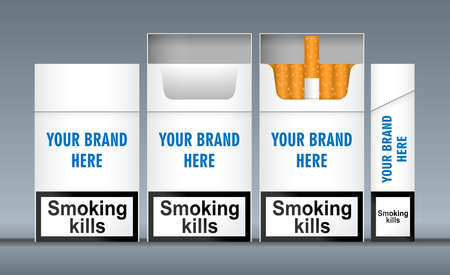 lateral view: Digital vector white cigarette pack mockup, front and lateral view, smoking kills, realistic flat style, isolated and ready for your design Stock Photo