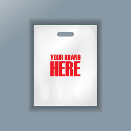 hand held: Digital vector cellophane bag plastic mockup, hand held, ready for your design, flat style