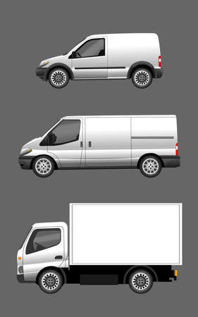 Digital vector silver and white realistic vehicle car set mockup, ready for   design, flat style