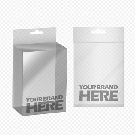 Digital vector silver transparent plastic blank box mockup, ready for your  design, flat style