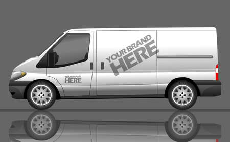 Digital vector silver and white realistic vehicle car bus mockup, ready for  design, flat style