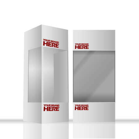 transparence: Digital vector silver transparent plastic and paper blank box mockup, ready for your logo and design, flat style