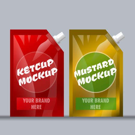 pouch: Digital vector red and brown ketchup and mustard package mockup, ready for your logo and design, flat style