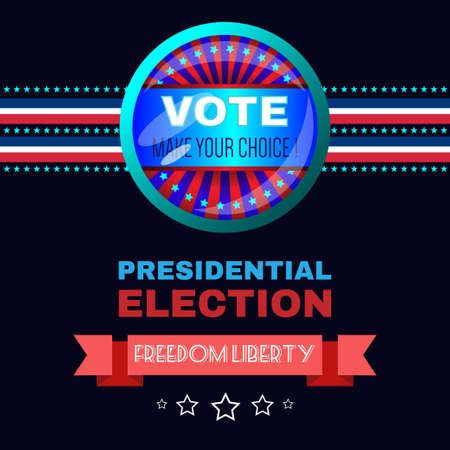 choise: Digital vector usa election with make your choise, presidential election vote, freedom liberty, black background flat style