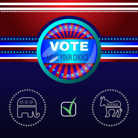 choise: Digital vector usa election with make your choise, republican or democrat checkbox, red and blue background flat style Illustration