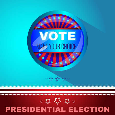 choise: Digital vector usa election with make your choise, presidential election vote, blue flat style