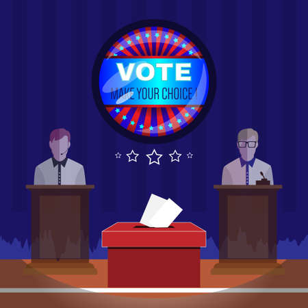 choise: Digital vector usa election with vote box, candidate tribune and make your choise, flat style Illustration