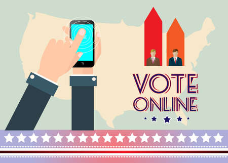 Digital vector usa election with vote online, hand on mobile phone, flat style Stock Photo
