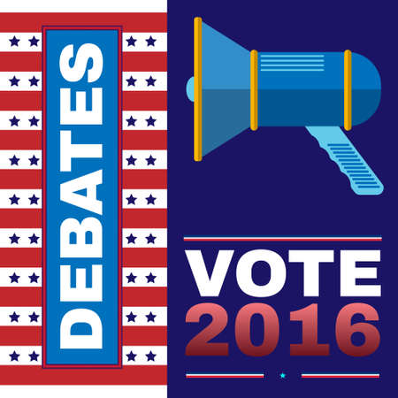 nomination: Digital vector usa election with presidential debates, megaphone, flat style Stock Photo